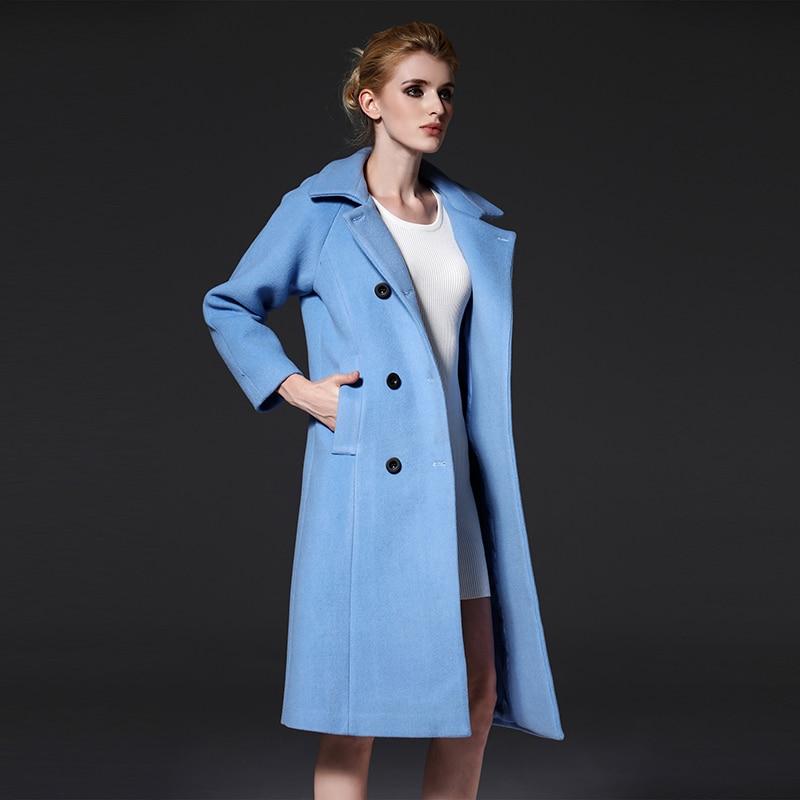 2017 mode laine trench femmes de laine hiver mince long manteau nouveau printemps bleu manteaux. Black Bedroom Furniture Sets. Home Design Ideas