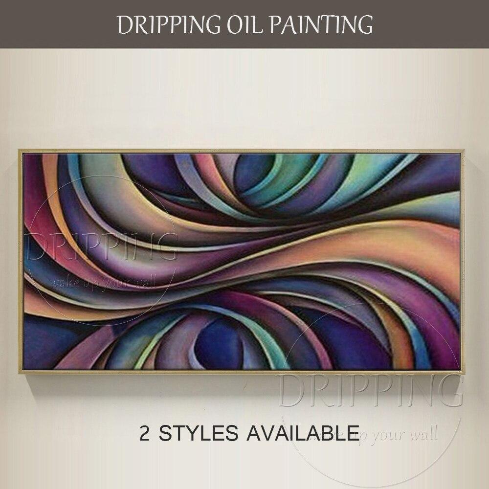 Artiste peint à la main couleurs sombres abstraite peinture à l'huile sur toile fait à la main grande taille torsion abstraite vert et violet peinture à l'huile