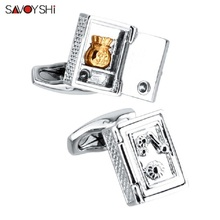 SAVOYSHI Newest Shirt Cufflinks for Mens High Quality Fashion Men Jewelry Safe box Model Cuff links Free Custom Name Party Gift