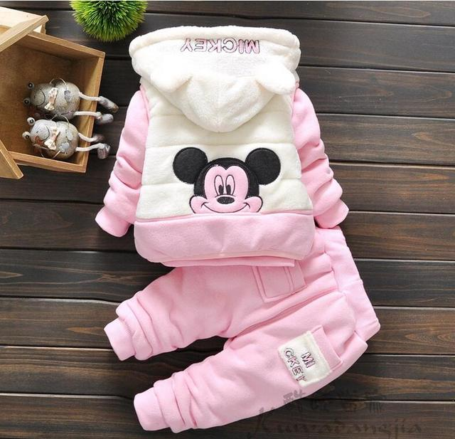 3 peças crianças menina infantil do bebê roupas de inverno menina ajuste roupas grossas casaco quente jaqueta de inverno para o bebé minnie rato