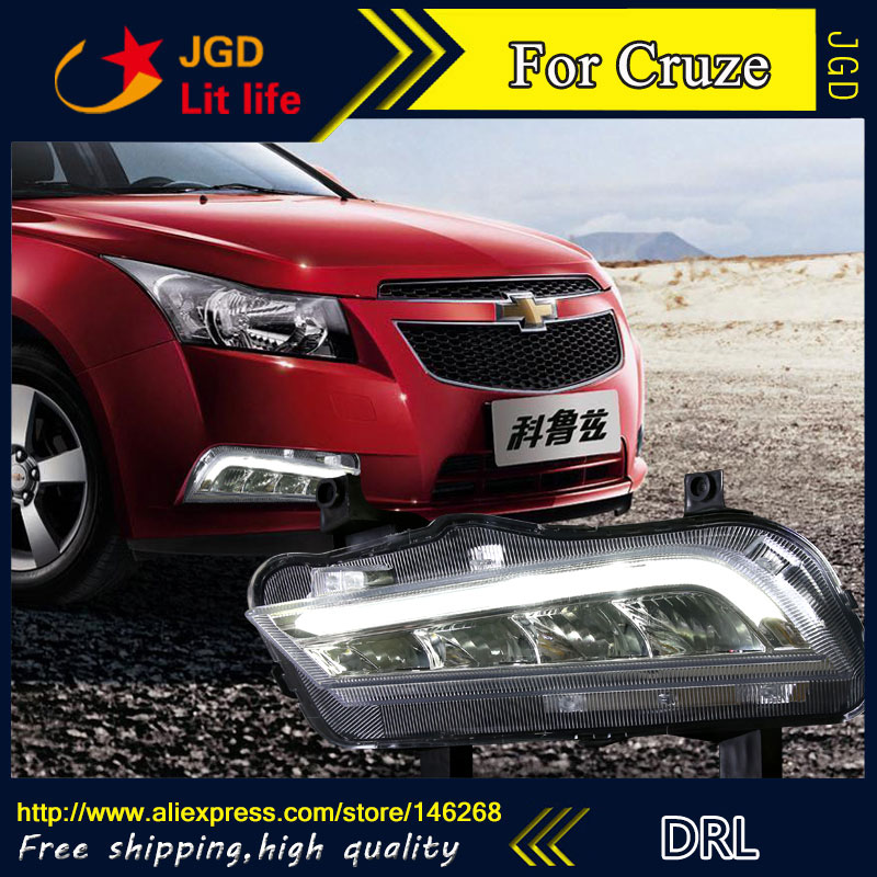 Free shipping ! 12V 6000k LED DRL Daytime running light for Chevrolet Cruze 2015 fog lamp frame Fog light