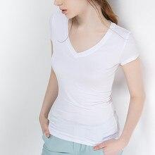 S-5XL New Women's Cotton T-shirt Summer 2021 Casual Elasticity Short-sleeve V-neck Slim Bottom T-shirt Girl's Tops Tees Female