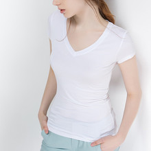 S-5XL New Women's Cotton T-shirt Summer 2019 Casual Elasticity Short-sleeve V-neck Slim Bottom T-shirt Girl's Tops Tees Female