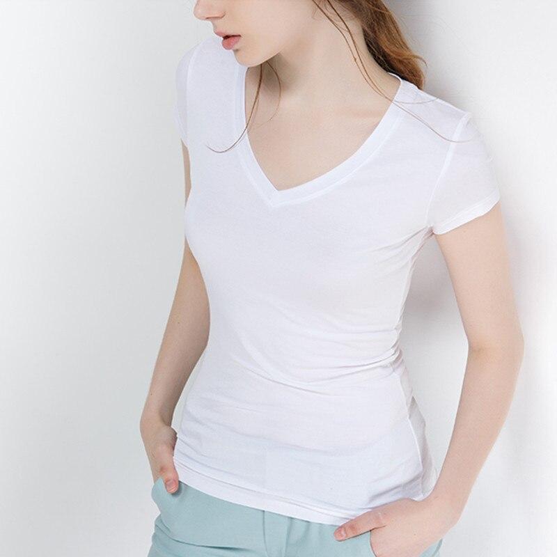 S-5XL New Women's Cotton T-shirt Summer 2020 Casual Elasticity Short-sleeve V-neck Slim Bottom T-shirt Girl's Tops Tees Female
