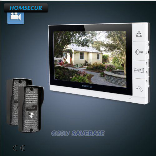 HOMSECUR 9 Wired Video&Audio Home Intercom+White Monitor for House/Flat 2C1M