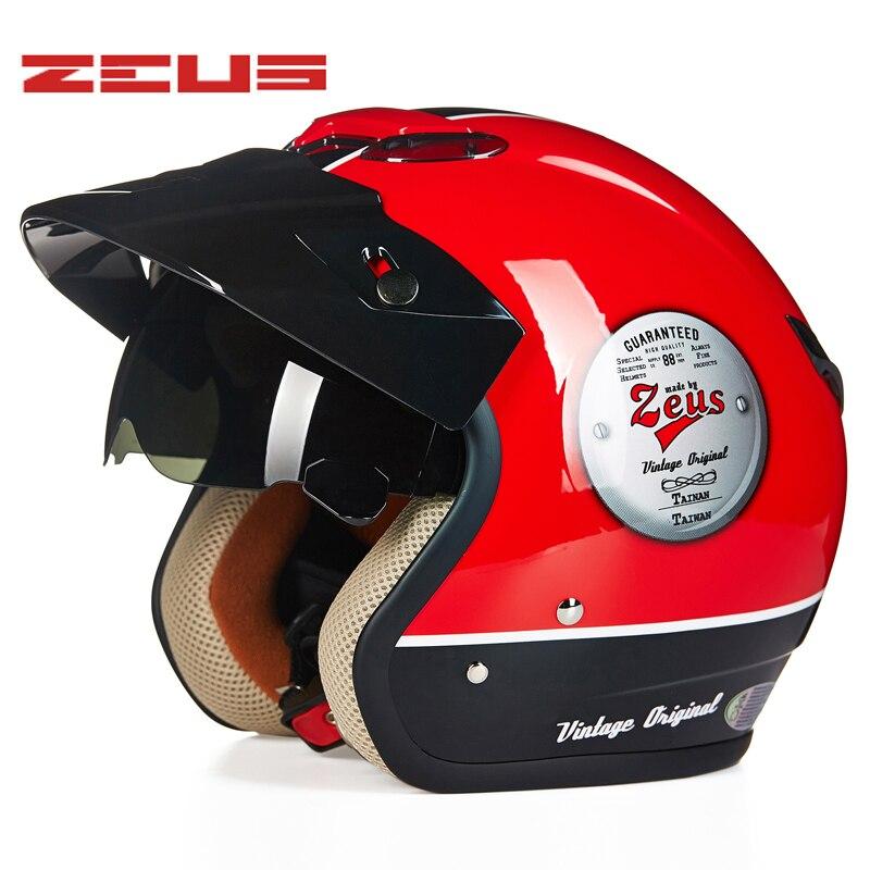 ZEUS 381C 3/4 casque Moto demi casque rétro Moto Casco Scooter Capacete Face ouverte avec lunettes de soleil casque de vélo