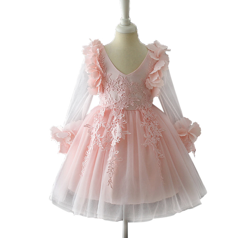 Kids Clothes Teenage Girls Lace Flower Dress Children Wedding Birthday Party Dress Princess Gown Tutu Prom Dress 2-12 Years купить