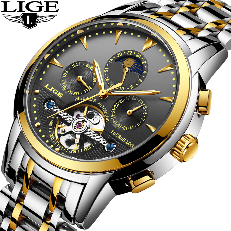 LIGE Mens Watches Business Waterproof Automatic Machinery Top Brand Watch Mens Military Sport Full Steel Clock Relogio Masculino
