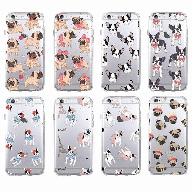 Bonito Pug Filhote de Cachorro Do Gato Do Coelho Princesa Miau Buldogue Francês Macio Caso de Telefone Coque Funda Para iPhone7Plus 6 8 6 S 8 plus X XS Max Samsung