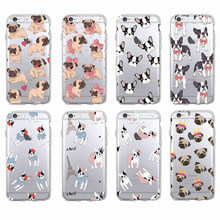 Cute Puppy Pug Bunny Cat Princess Meow French Bulldog Soft Phone Case Coque Funda For iPhone7Plus 6 6S 8 8plus X XS Max Samsung(China)