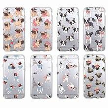 Sevimli Köpek Pug Bunny Kedi Prenses Miyav Fransız Bulldog Yumuşak telefon kılıfı Coque Funda Için iPhone7Plus 6 6 S 8 8 artı X ...