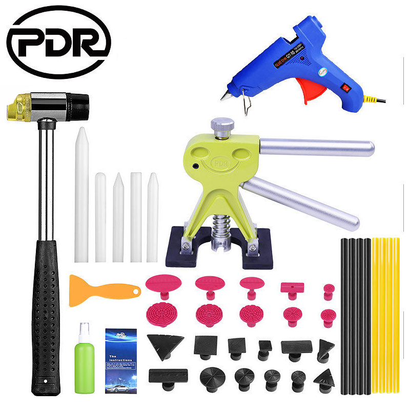 PDR Dent Removal Auto Repair Tools Paintless Dent Repair Car Body Repair Kit Slide Hammer Dent Lifter Suction Cups High Quality 147 pcs portable professional watch repair tool kit set solid hammer spring bar remover watchmaker tools watch adjustment