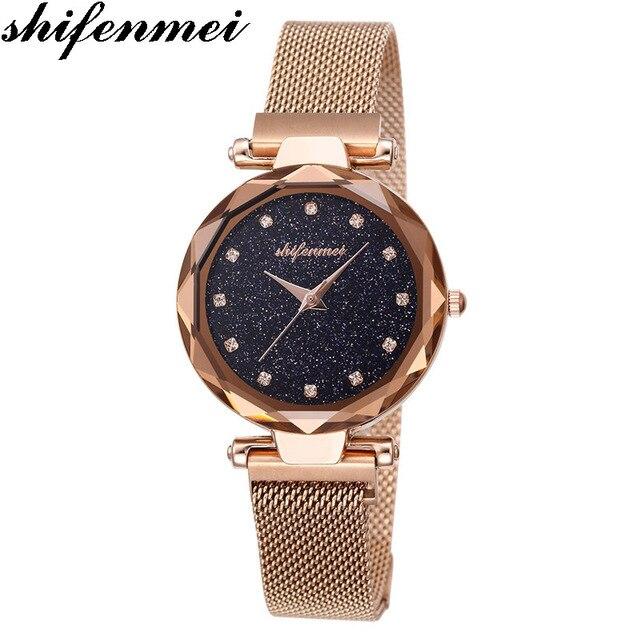 Shifenmei 1136 אופנה יוקרה מותג גבירותיי שעון נשים קוורץ שעוני יד רשת פלדה נקבה שעונים מגנטי feminino relogio