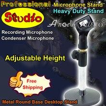 Calidad profesional metal redondo Bases soporte de escritorio soporte resistente altura ajustable soporte de micrófono de estudio stannd