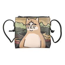 Women's Leather Shoulder Bag with Cute Cats Printing