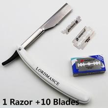 1set Män Riktigt Barberkant Razorer Fällbar Rakkniv Hårborttagningsverktyg med 10 st Hög kvalitet Blades