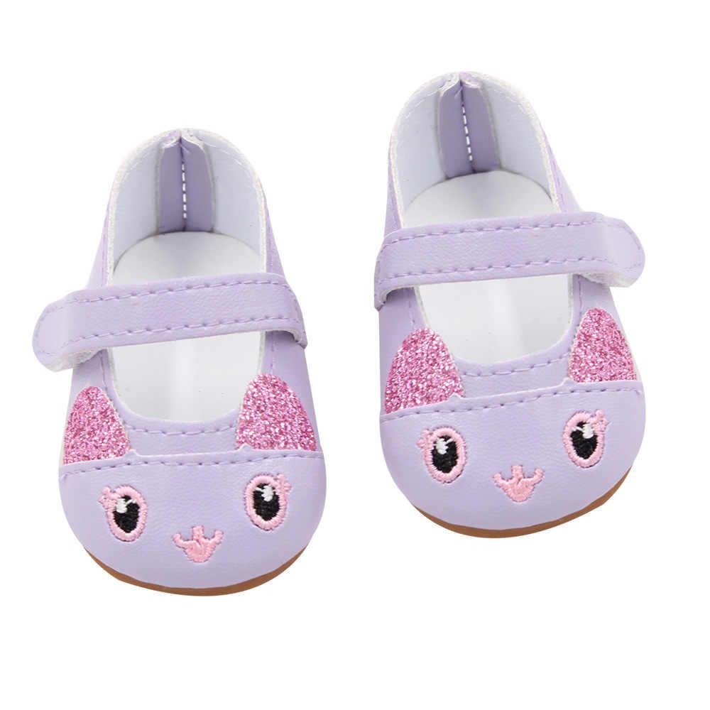 2018 nueva moda para los zapatos de las muñecas del bebé de 43cm para los zapatos de la muñeca del bebé Reborn 7cm Mini Shose de cuero 18 pulgadas muñeca Linda zapatos