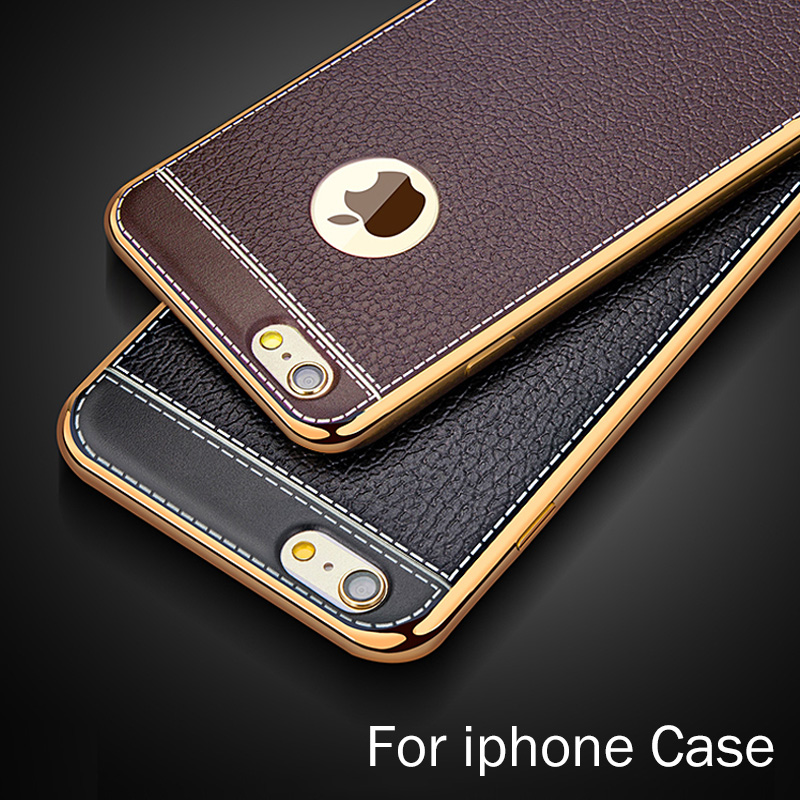 Phone Case For iPhone 5 5s 6 6S 7 8 Plus X Silica gel plating TPU Cases Accessories Leather Pattern Back Cover Fundas Capa