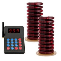 20 Coaster Téléavertisseurs + 1 Clavier Émetteur Pager Système de File D'attente Restaurant Sans Fil Système D'appel Serveur 999 Canal 433.92 mhz