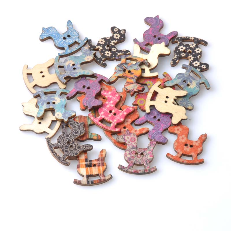Wood Sewing Button Scrapbooking Rocking Horse for craft Two Holes 27x 30mm,50 PCs 2015 new MT1122X