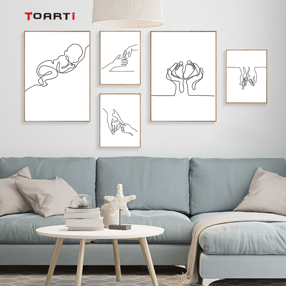 Minimalist Human Body Line Drawing Wall Art Modern Abstract Painting Family Quotes Vintage Posters&Prints Living Room Home Decor (7)