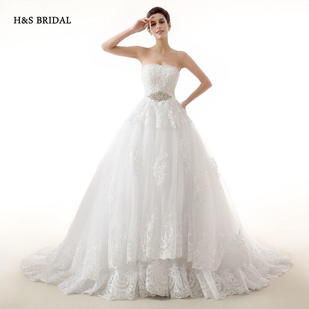 H&S BRIDAL Real Model White Tulle Ball Gown Wedding Dresses Designer ...