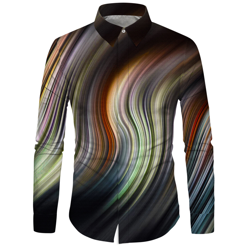 Cloudstyle Men Printing Shirts Space Nebula Aurora Printed 3D Clothes Fall Winter 2019 New Fashion Shirt Camisas Hombre Slim Fit
