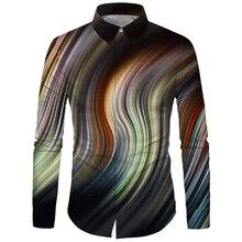 قميص مطبوع للرجال من Cloudstyle ملابس ثلاثية الأبعاد مطبوعة على طراز سديم الفضاء قميص عصري موضة خريف وشتاء 2020 ملابس نسائية ضيقة