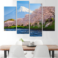Baskı Yağ Resim 4 Panel Tuval Duvar Boyama japonya'nın Fuji Dağı Kiraz Sanat Ev Dekor On Modern Cuadros Çalışır Decoracion