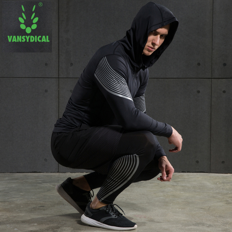 Vansydical 2019 Gym Running Sets Men's Fitness Compression Tights Sportswear Stretchy Training Sports Clothes Jogging Suits 5pcs - 3