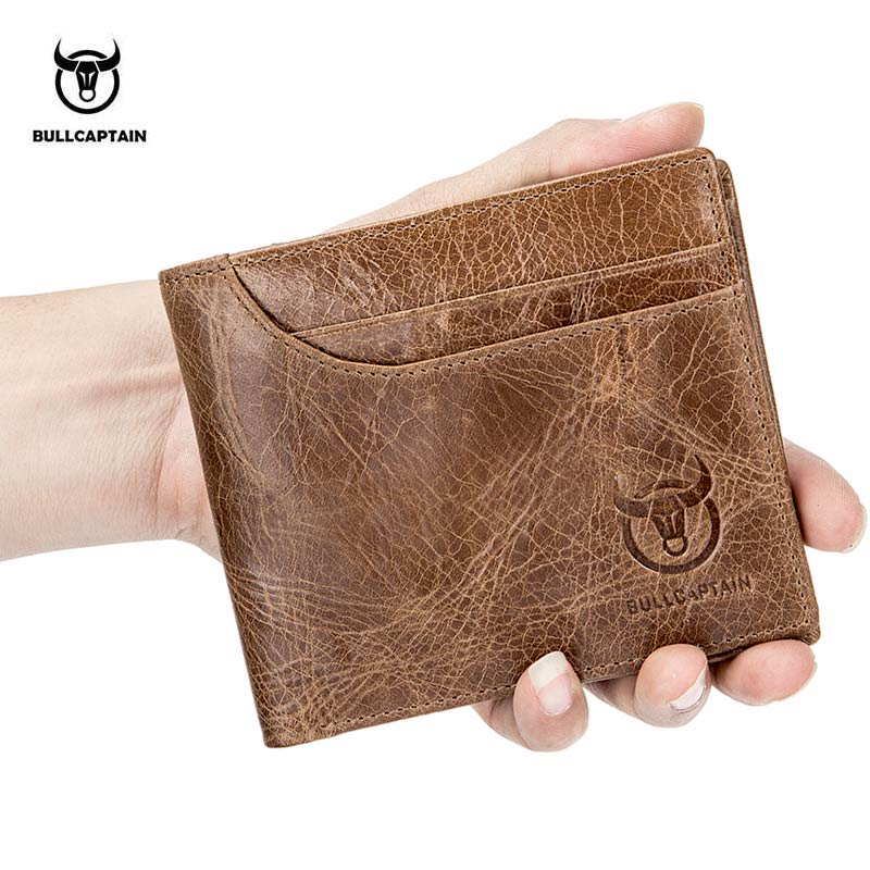 BULLCAPTAIN 100% Genuine Leather Wallet Fashion Short Bifold Men Wallet Casual Soild Male Wallets With Coin Pocket Purse 023 oufankadi genuine leather wallet fashion short bifold men wallet casual soild men wallets with pocket purse male wallets