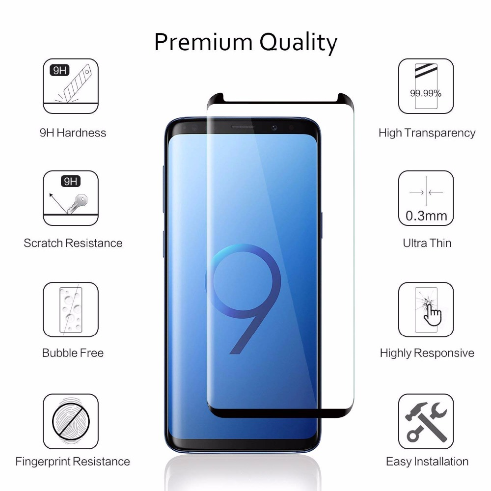 50pcs 3D Curved Tempered Glass For Samsung Galaxy S9 S8 Plus Screen Protector For Note 8