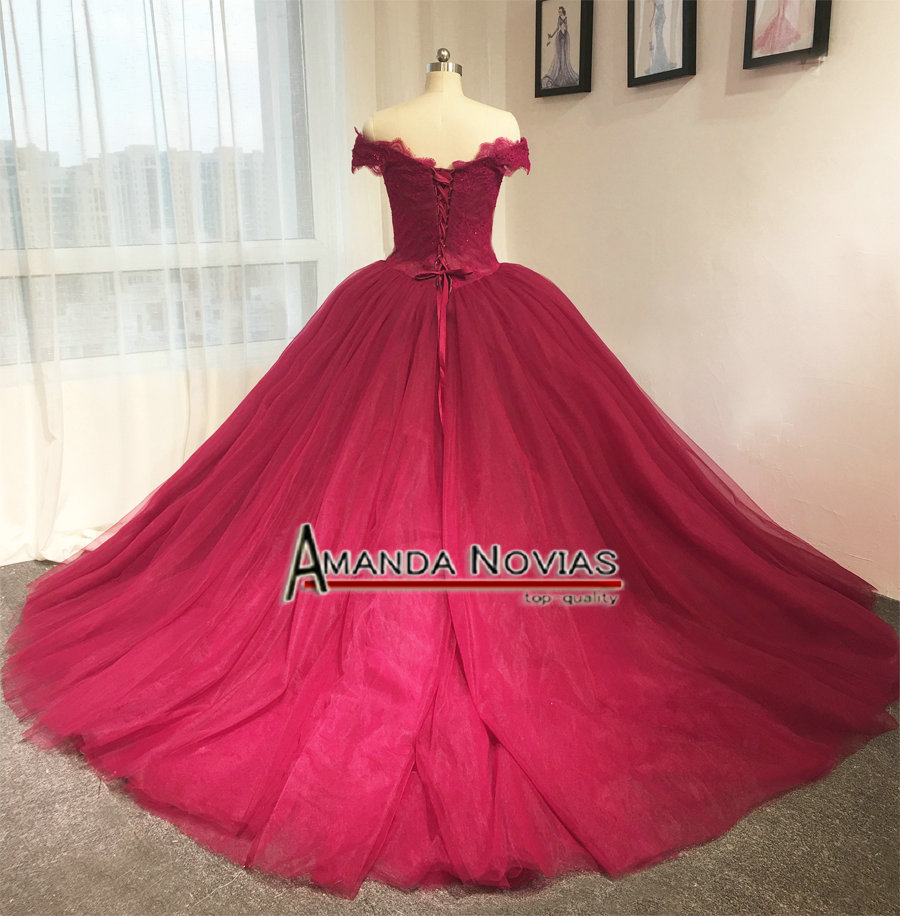 Stunning red wine off the shoulder princess ball gown wedding dress ...