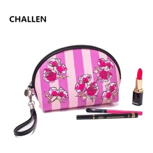floral make up bag  fashion cosmetic case PU waterproof organizer bag for travel  wash pouch waterproof bags Bath high-capacity