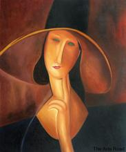 Frameless Female Painting Abstract Portrait of Woman in Hat by Amedeo Modigliani Canvas Art Hand Painted