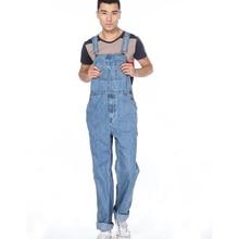 Мужская свободно плюс большой размер комбинезоны Мужской моды карман джинсовой нагрудник брюки Огромный большой размер подтяжки комбинезон