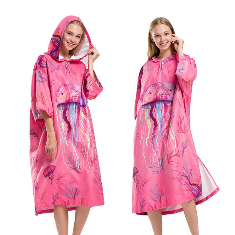 Lovely Jellyfish Changing Robe Bath Towel Outdoor Adult Hooded Beach Towel  Poncho Bathrobe Towels Women Man ba6b513a3