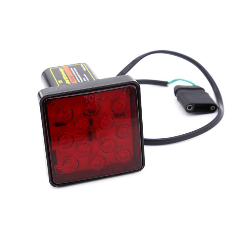 Keyecu Red Trailer Hitch Receiver Cover with 12 LED Brake Leds Light Tube Cover w/ Pin 1/2 thick gasket ensures a snug fit