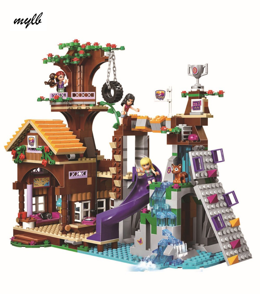 mylb 739Pcs Friends Adventure Camp Tree House tire swing Model Building Minis Blocks Girl Toys Compatible [hot] 875pcs legoings adventure camp tree house model building blocks gifts toy compatible legoingly friends toys for children