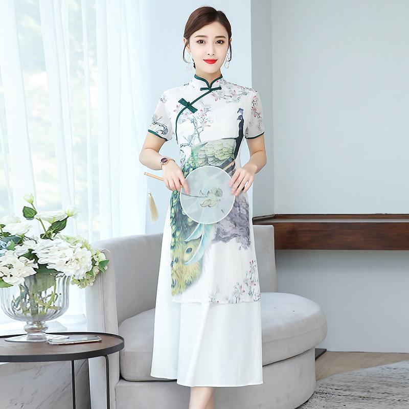 2019 Rayon Vietnam Clothing Vietnam Traditional Dress  Women Simple Dress Vintage Lady Floral Vietnam Aodai Ao Dai Dress