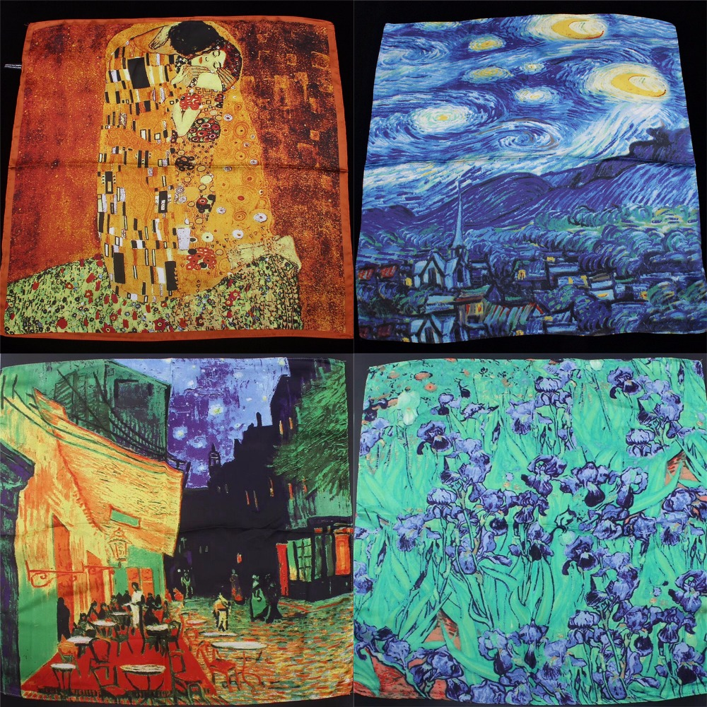 Van Gogh Oil Painting Silk Scarf Bandanna Women Scarf Fashion Square Scarves Head Neck Tie Band Professional Neckerchief