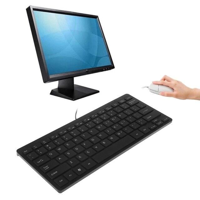177e378ca1d Mini Ultra Thin Quiet 104 Keys Multimedia USB Wired Keyboard For Laptop  Desktop
