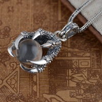 Thai silver pendant S925 Sterling Silver Wholesale Antique Style Crystal Pendant pendant lovers of classic claws
