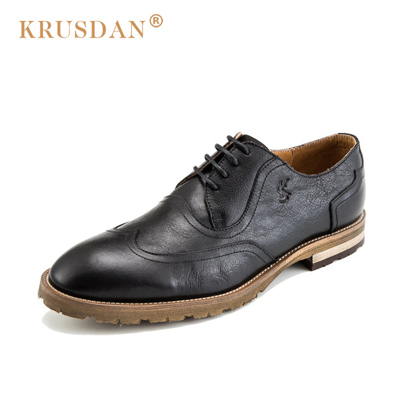 KRUSDAN British Man Brogue Dress Shoes Genuine Leather Handmade Oxfords Round Toe Lace Up Formal Business Party Men's Flats 2017 new genuine leather mens oxfords business dress wedding shoes lace up british style top quality cow leather brogue oxfords