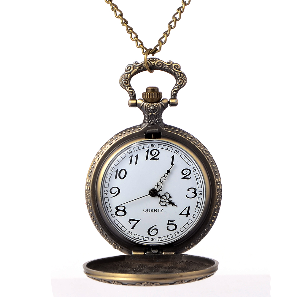 Vintage Copper Pocket Watch Bronze Necklace Quartz Fob Watch Women Ladies Necklace Pendant Chain Clock Christmas Brithday Gift