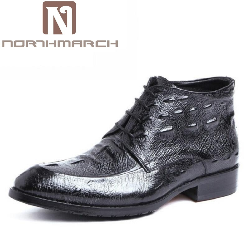 NORTHMARCH New 2017 Fashion Crocodile Pattern Men Shoes Lace-Up Black Leather Round Toe Business Casual Shoes chaussures homme edison loft style iron droplight industrial vintage pendant light fixtures for dining room hanging lamp indoor lighting