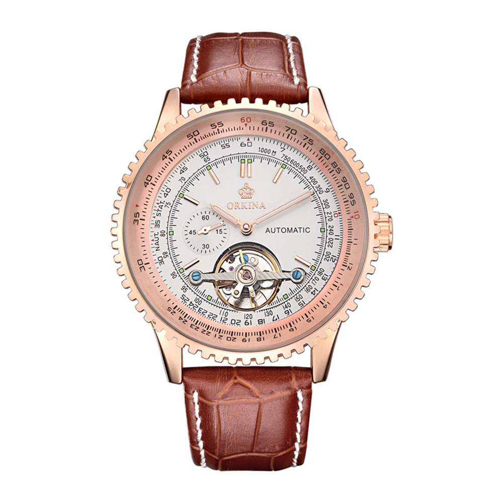 Tourbillon Men Top Luxury Brand Rose Gold Watches Automatic Mechanical Watch Stainless Steel Waterproof ORKINA relogio masculino 2017 new jsdun luxury brand automatic mechanical watch ladies rose gold watches stainless steel ladies tourbillon wrist watch