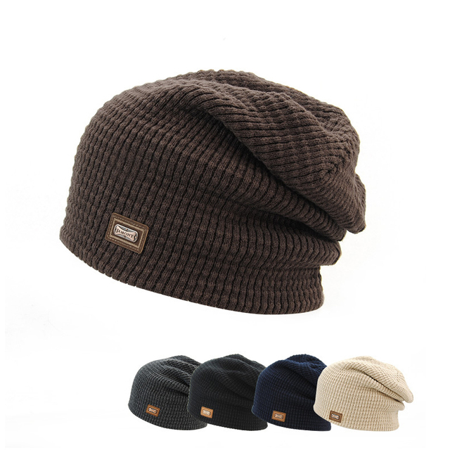 Fashion Autumn winter knitted hats wholesale pure wool jacket men head cap acrylic iron standard Korean warm Ski Hat HMZ8199