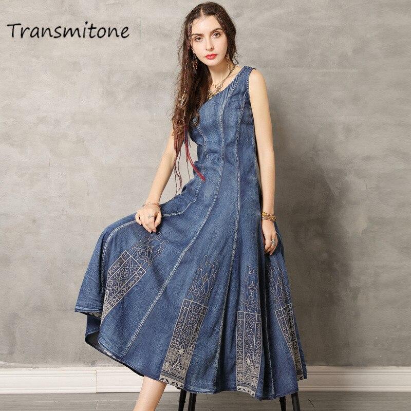 Women Denim Dress 2019 Vintage Swing Hem Summer Dresses O-Neck Sleeveless Sundress Embroidery Vestido Tank Dresses Vestidos 301