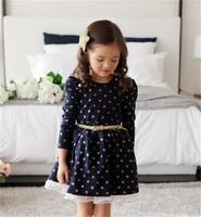 Autumn Casual Baby Polka Dots Girl Dress Cute Kids Long Sleeve Vestido Princess Lace Cotton Dot